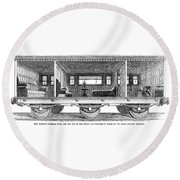 Railway Carriage, 1864 Round Beach Towel