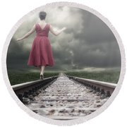 Railway Tracks Round Beach Towel by Joana Kruse