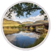 Railway Viaduct Over River Orchy Round Beach Towel