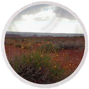 Rain At Monument Valley Round Beach Towel