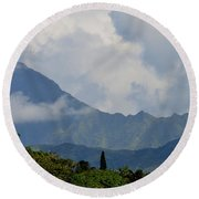 Rain Clouds Over The Makalehas Round Beach Towel