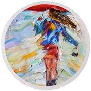 Rain Dance With Red Umbrella Round Beach Towel