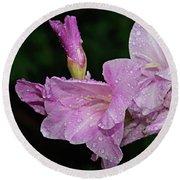 Rain Flower 1 Lavender Round Beach Towel