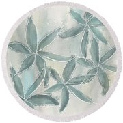 Rain Flowers Round Beach Towel