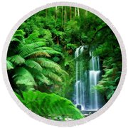 Rain Forest And Waterfall Round Beach Towel