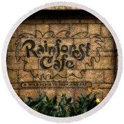 Rain Forest Cafe Signage Downtown Disneyland 01 Round Beach Towel