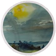 Rain In The Air, 1981 Wc On Paper Round Beach Towel
