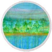 Rain  Original Contemporary Acrylic Painting On Canvas Round Beach Towel