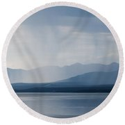Rain Shower Over Marsh Lake Yukon Territory Canda Round Beach Towel