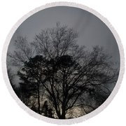 Rain Storm Clouds And Trees Round Beach Towel