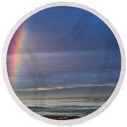 Rainbow Above The Bay Round Beach Towel