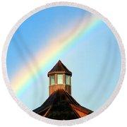 Rainbow Against Blue Sky Round Beach Towel