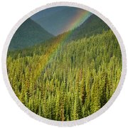 Rainbow And Sunlit Trees Round Beach Towel