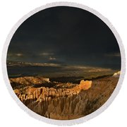 Rainbow And Thunderstorm Bryce Canyon National Park Ut Round Beach Towel