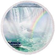 Rainbow And Tourist Boat At Niagara Falls Round Beach Towel