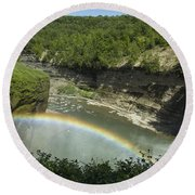 Middle Falls With Rainbow Round Beach Towel