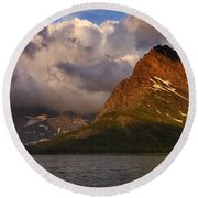 Rainbow At Sunrise - Panorama Round Beach Towel
