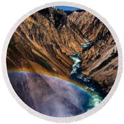 Rainbow At The Grand Canyon Yellowstone National Park Round Beach Towel