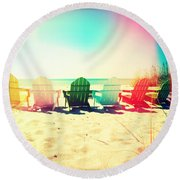 Rainbow Beach I Round Beach Towel