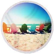 Rainbow Beach Photography Light Leaks1 Round Beach Towel