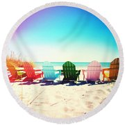 Rainbow Beach Photography Light Leaks2 Round Beach Towel