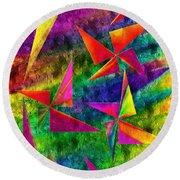 Rainbow Bliss - Pin Wheels - Painterly - Abstract - V Round Beach Towel