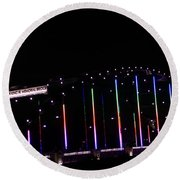 Rainbow Bridge And Super Moon Round Beach Towel
