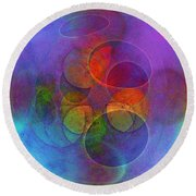 Rainbow Bubbles Round Beach Towel by Klara Acel