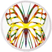 Rainbow Butterfly Abstract Nature Artwork Round Beach Towel