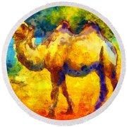 Rainbow Camel Round Beach Towel