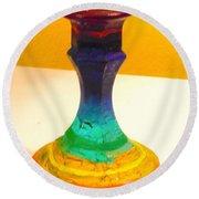 Rainbow Candlestick Round Beach Towel