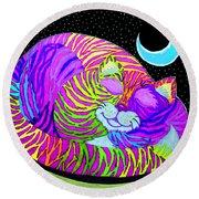 Rainbow Cat Blue Moon Round Beach Towel