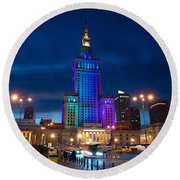 Palace Of Science And Culture In Rainbow Colors  Round Beach Towel