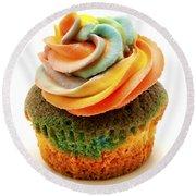 Rainbow Cupcake  Round Beach Towel