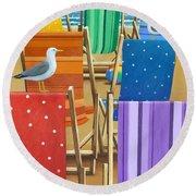 Rainbow Deckchairs Round Beach Towel