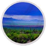 Rainbow Desert Landscape Round Beach Towel