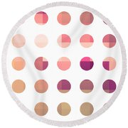 Rainbow Dots Rose Round Beach Towel by Pixel Chimp