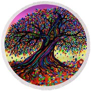 Rainbow Dreams And Falling Leaves Round Beach Towel