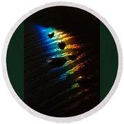 Rainbow Drops Round Beach Towel