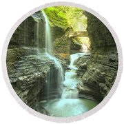 Rainbow Falls Bridge Round Beach Towel