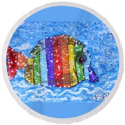 Rainbow Fish Round Beach Towel