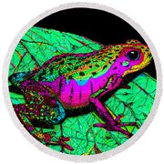 Rainbow Frog 3 Round Beach Towel