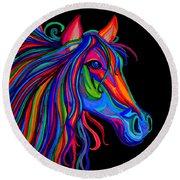 Rainbow Horse Head Round Beach Towel