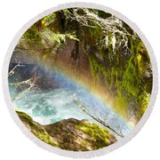 Rainbow In Avalanche Creek Canyon In Glacier National Park-montana Round Beach Towel