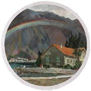 Rainbow In The Mountains Round Beach Towel