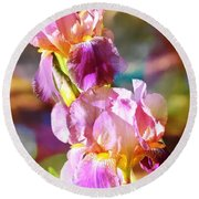 Rainbow Irises Round Beach Towel