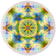 Rainbow Light Mandala Round Beach Towel