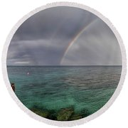 Rainbow Light Round Beach Towel