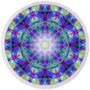 Rainbow Lotus Round Beach Towel