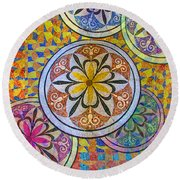 Rainbow Mosaic Circles And Flowers Round Beach Towel